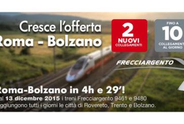 Crescono i viaggiatori delle Frecce verso Rovereto, Trento e Bolzano