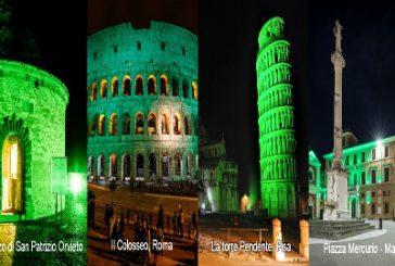 A San Patrizio i monumenti italiani si tingono di verde
