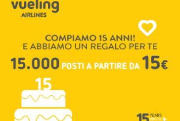 Vueling compie 15 anni e festeggia con15.000 posti a partire da 15 euro