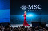 Michelle Hunziker ospite d'onore al battesimo di Msc Grandiosa ad Amburgo