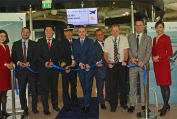 Debutta a Fiumicino l' A350-1000 di Cathay Pacific: voli giornalieri per Hong Kong