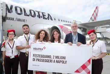 Raggiunto il record di 2 mln di pax a Napoli per Volotea